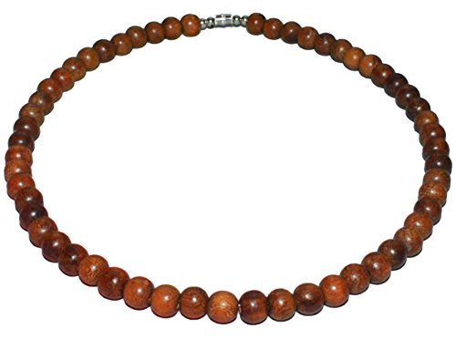 Native Treasure 18 inch Men's Rosary Bead Necklace - Brown Exotic Robles Wood Beads - 8mm (5/16