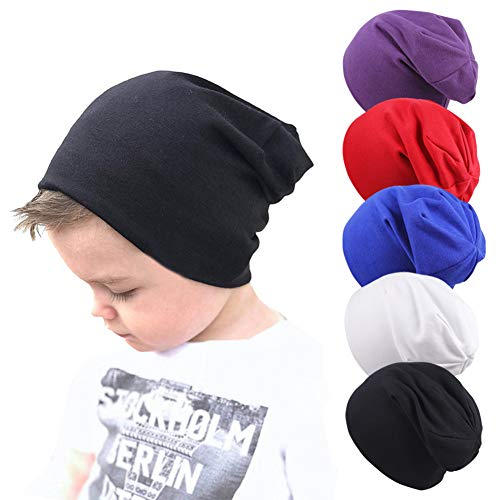 Gzhyuwaye Unisex Baby Beanie Hats Cotton Skull Caps for Infant Toddlers Kids 6-60 Months 5-Pack ()