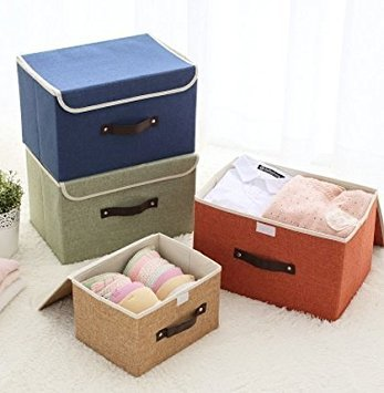 Benbroo Plegable Organizador Cesta de Almacenamiento Caja para Guardar Ropa, Libros con Tapa, Naranja, Small: Amazon.es: Hogar
