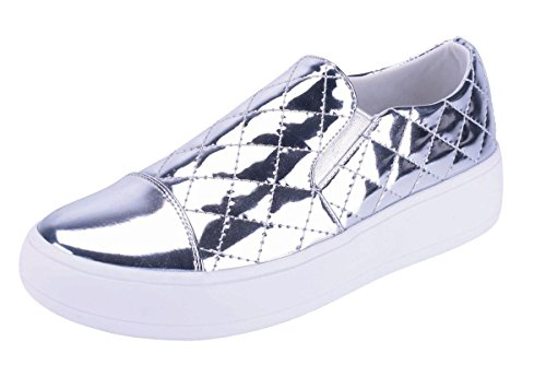 Cambridge Select Womens Closed Round Cap Toe Quilted Stretch Slip-On Flatform Fashion Sneaker Silver UvQGW