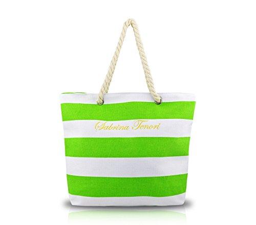 Borsa mare SABRINA T. 376904 modello marinaro in tessuto con manici in corda. MEDIA WAVE store ® (Verde)