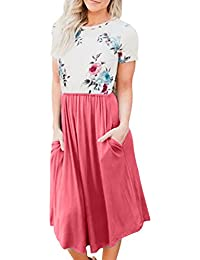 Womens Short Sleeve Pocket Floral Print Patchwork Casual...