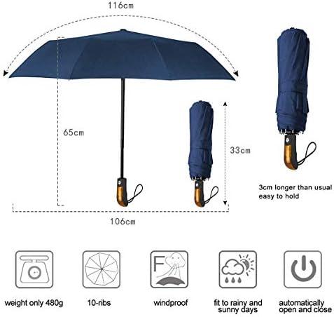 Parapluie Pliant R/ésistant au Vent Ouverture et Fermeture Automatique Teflon 190T Canopy avec 10 Baleines Renforc/é Parapluie de Voyage pour Homme et Femme