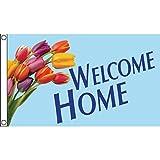 Horizontal Welcome Home Flag, Tulips, 5' x 3'