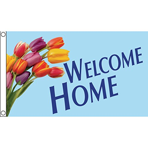 Horizontal Welcome Home Flag, Tulips, 5' x 3'