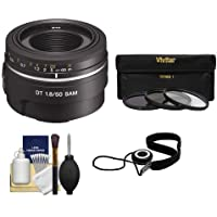 Sony Alpha 50mm f/1.8 DT SAM Lens with 3 (UV/FLD/CPL) Filter Set + Digital SLR Camera Cleaning Kit