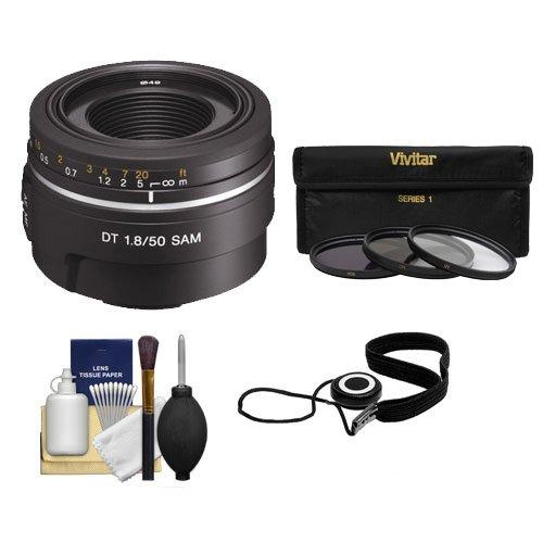 Sony Alpha 50mm f/1.8 DT SAM Lens with 3 (UV/FLD/CPL) Filter Set + Digital SLR Camera Cleaning Kit