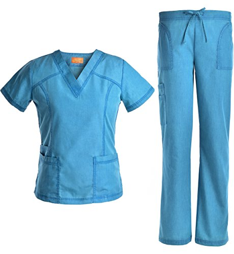 V Neck Scrubs Set Superior Softness - Jeanish Washed Lady Women Scrubs Medical Uniforms Top and Pants New Stylish JS1605 (Caribbean, (New Medical Scrubs)