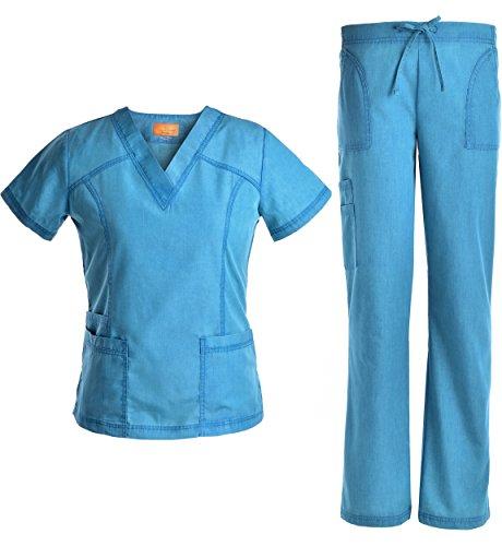 New Women Nursing Scrub (V Neck Scrubs Set Superior Softness - Jeanish Washed Lady Women Scrubs Medical Uniforms Top and Pants 2017 New Stylish JS1605 (Caribbean, XL))