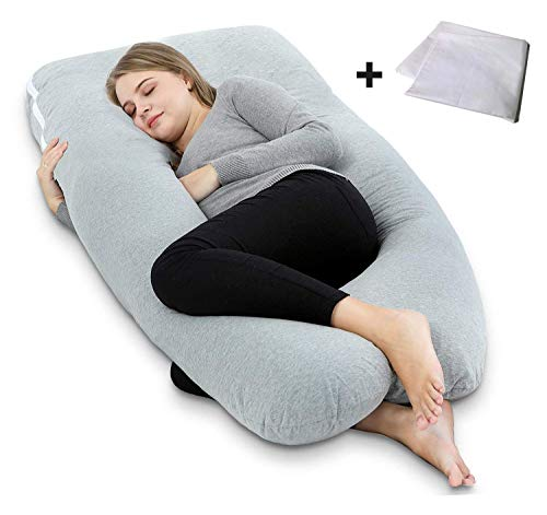 AngQi Pregnancy Pillow, U Shaped Maternity Pillow for Pregnant Women with Body Pillow Jersey Cover and Vest Cover, 55-inch