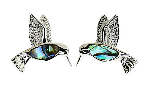 - Sterling Silver Hummingbird,Iridescent Abalone Shell Friction Post Back Earrings