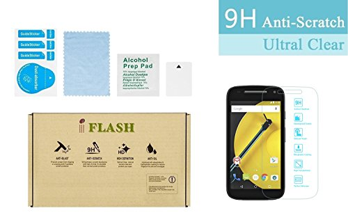 iFlash® Premium Tempered Glass Screen Protector: Crystal Clear & Bubble Free 0.3mm thickness edition - For Motorola Moto E2 / XT1505 (MOTO E 2nd Generation 2015 Model) AT&T, T-Mobile, Sprint, Verizon - Retail Packaging