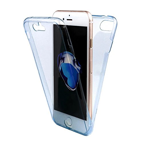 IPhone 6S Funda para Teléfono Móvil, SevenPanda iPhone 6 4.7 pulgadas PROTECCIÓN RUNDUM Ultra Delgada 360 grados Negro Cuerpo Completo Táctil Caso Piel Celular Caja Cristal Transparente Accesorios par Transparente - Azul