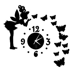 Liangxiang Modern Style Butterfly Fairy DIY Mirror Wall Clock Wall Sticker Home Decor (Black)