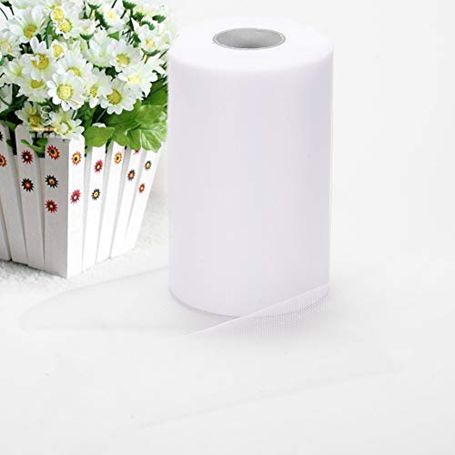 Adeeing Tulle Rolls 6 Inch x 200 Yards (600FT) White Tulle for Wedding Tulle Fabric Bolt Spool for Tutu Skirt Crafting Favors Pew Bow Party Decorations