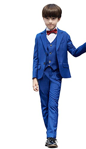SK Studio Boys' 5 Pieces Slim Fit Formal Dresswear Wedding Suits Royal Blue by SK Studio