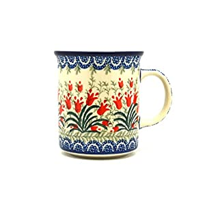Polish Pottery Mug – Straight Sided – Crimson Bells