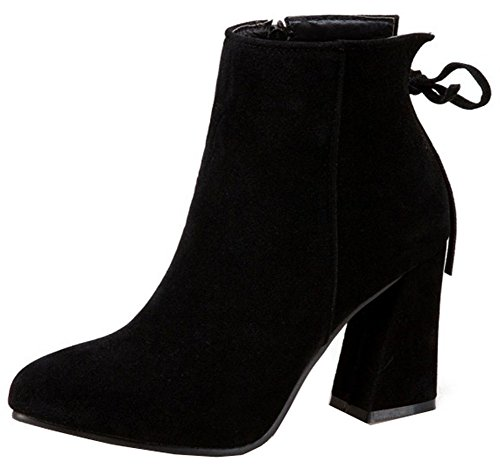 Booties High Suede Ankle Zip Toe Women's Martin Heels Chunky Pointy Warm Easemax Up With Faux Black awUXxP8qz