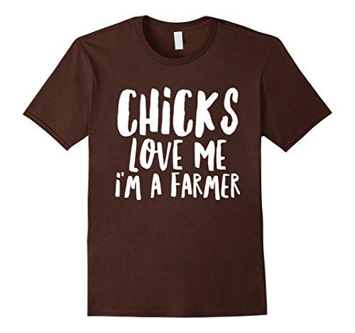 [Men's Farmer Boy Chicks Women Quote Costume Gift Funny T-Shirt 2XL Brown] (Chicken Nugget Costume)