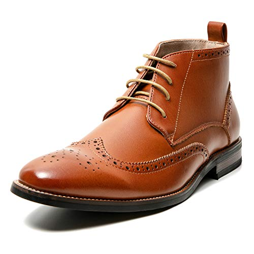(Men's Oxford Dress Leather Lined Round Toe Angle Boots (10 M US, Tan-3))