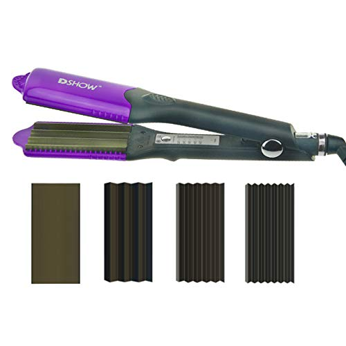DSHOW 4 in 1 Hair Crimper Hair Waver Hair Straightener Curling iron with 4 Interchangeable Ceramic Flat Crimping Iron Plate, Purple
