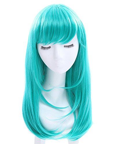 ROLECOS Womens Long Straight Party Wigs Synthetic Hair Wig Teal Green -