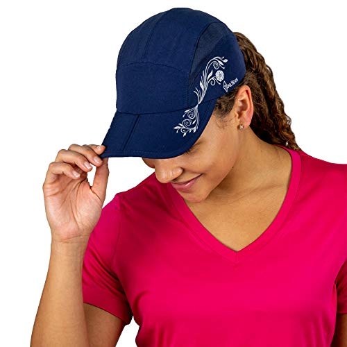 TrailHeads Folding Bill Running Hat For Women | Summer Cap with UV Protection - navy/print