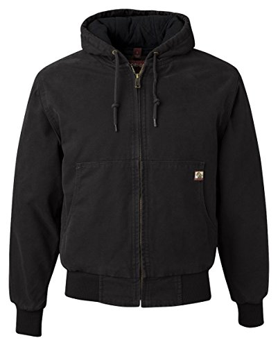 (DRI Duck Men's 5020 Cheyenne Hooded Work Jacket, Black, Large)