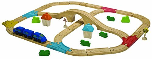 (Plan Toys City Road and Rail Railway Set by PlanToys)