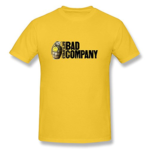Price comparison product image Jiaso Men's Funny Bad Company Logo Tshirt Yellow XX-Large