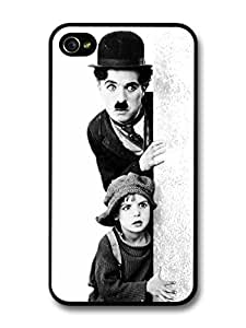 AMAF ? Accessories Charlie Chaplin & The Kid Black & White Portrait case for iPhone 4 4S