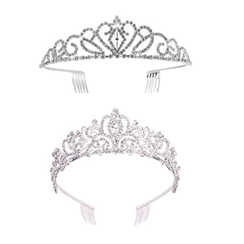 GOMING 2 Pack Rhinestones Wedding Tiara Crystal Bridal Crown with Comb Princess Crown Headband For Party,2 Style