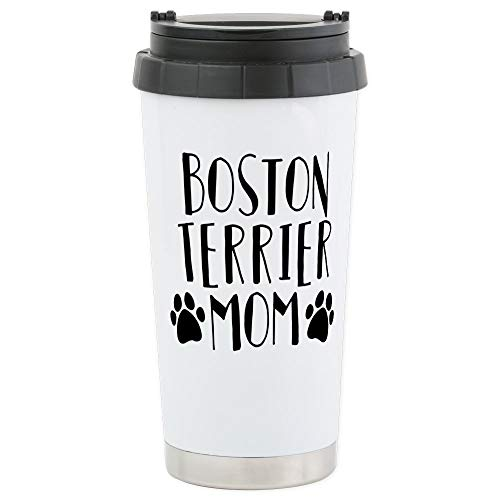 CafePress Boston Terrier Mo Stainless Steel Travel Mug, Insulated 16 oz. Coffee Tumbler ()