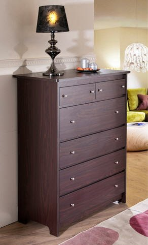 Furniture of America Misheline Modern Century 6-drawer Walnut Chest Contemporary Transitional Style Dresser