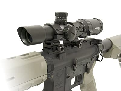 "Sniper Tactical Scope 1-4x28 5"" Eye Relief with Cantilever mount and Etched Chevron Glass reticle"