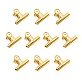 Gold Binder Clips, Coideal 10 Pack 51mm Stainless Steel Large Metal Bulldog / Hinge Paper Clips Clamps for Pictures Photos, Home Kitchen, Office Supplies