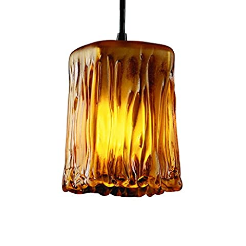 Justice Design Group Veneto Luce Collection 1-Light Pendant - Square with Rippled Rim - Dark Bronze Finish with Amber Venetian Glass - Mini Veneto 1 Light