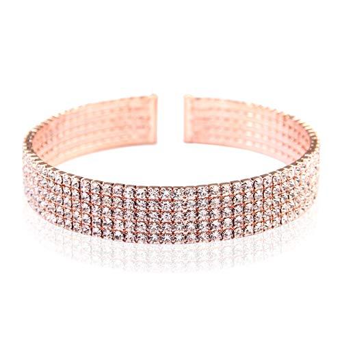 Sparkly Rhinestone Bridal Wedding Statement Bracelet - Cubic Zirconia Crystal Stretch Memory Wire/Adjustable Wrist Band Cuff/Hinge Bangle/Delicate Star Heart Flower (Cuff - 5 Row Rose Gold) ()