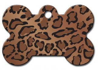 Engraved Leopard - Animal Prints Collection Bone Shape Personalized Custom Engraved Pet ID Tags! (Leopard, Large)