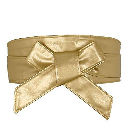 Ayliss Women Soft Leather Obi Belt Self Tie Wrap Cinch Belt (Lace up fit waist unlimited, 1 Gold) -