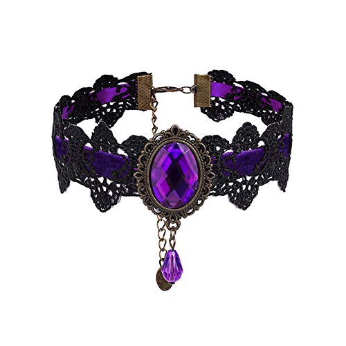 Eternity J. Retro Handmade Craft Lace Royal Court Vampire Choker Gothic Necklace Purple Pendant Chain -