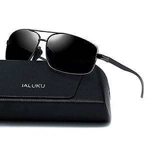 IALUKU Rectangular Polarized Sunglasses for Men Square Retro Aviator Sunglasses (Grey/Grey, 60)