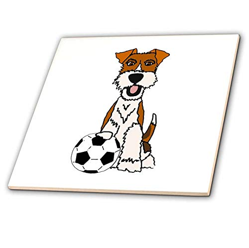 (3dRose All Smiles Art - Pets - Cool Funny Wire Fox Terrier Puppy Dog Playing Soccer Cartoon - 8 Inch Ceramic Tile (ct_307679_3))