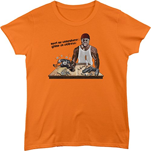BSW Women's Meet Me Irate Black Man Prank Call Phone Theme Shirt LRG Orange