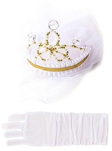 Little Adventures Bride Wedding Veil & White Glove Set for Girls - One-Size (3+ Yrs) (Princess Bride Costumes)
