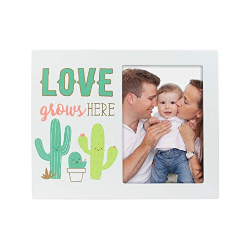 "Pearhead Cactus Plant""Love Grows Here"" Picture Frame, Displays One 3.5"" x 5"" Photo, Makes Perfect Nursery Décor, Baby Shower Gift, Trendy Baby Gift, White/Green/Cactus from Pearhead"