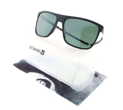 ic! Berlin Sunglasses Rapo 3 Black Rough with Green Nylon - Ic Berlin Sunglasses