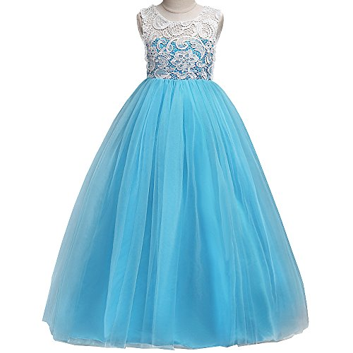 - ZNYUNE Girls Dress Flower Lace Tulle Bridesmaid Party Wedding Maxi Floor Length Evening Ball Gowns SkyBlue 120