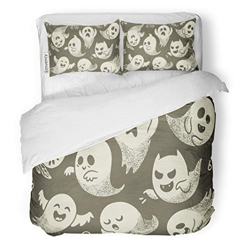 Semtomn Decor Duvet Cover Set Full/Queen Size Pattern of Cute Cartoon Ghosts Different Faces Spook Baby 3 Piece Brushed Microfiber Fabric Print Bedding Set Cover]()