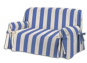 HomeLife – Cubre sofá de 3 plazas – Elegante Protector de sofás a Rayas – Funda de sofá de algodón para Proteger del Polvo, Las Manchas y el Desgaste, ...